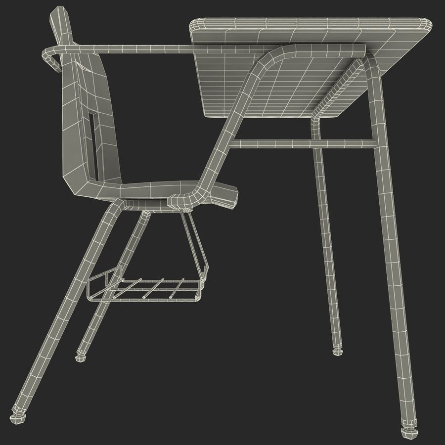 Students Desk royalty-free 3d model - Preview no. 23