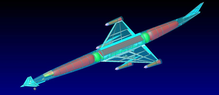 LAPCAT A2 Hypersonic Aircraft实体装配模型 royalty-free 3d model - Preview no. 7