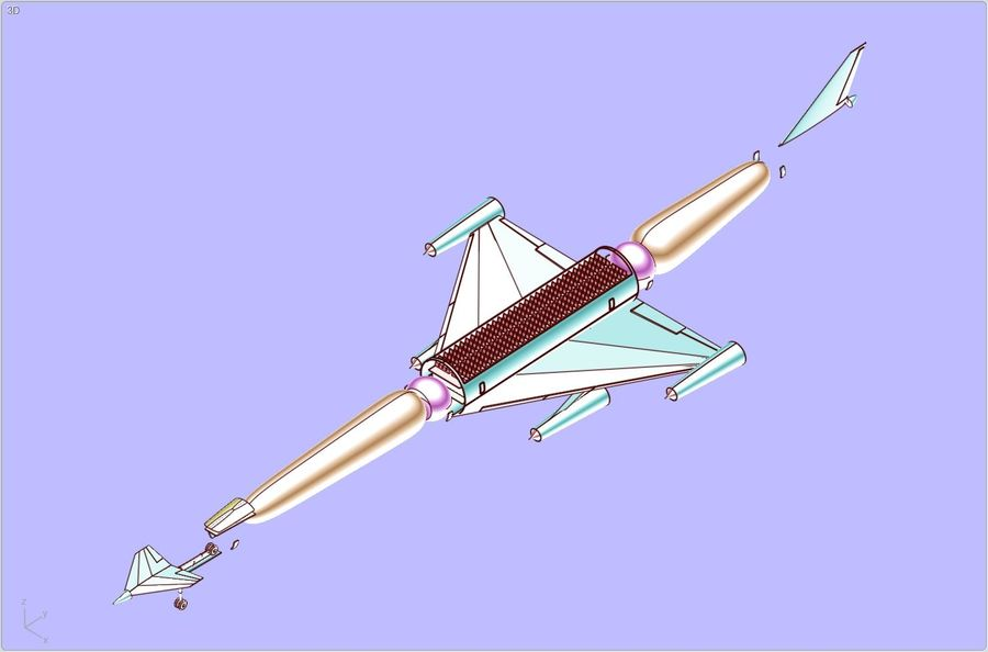 LAPCAT A2 Hypersonic Aircraft实体装配模型 royalty-free 3d model - Preview no. 21
