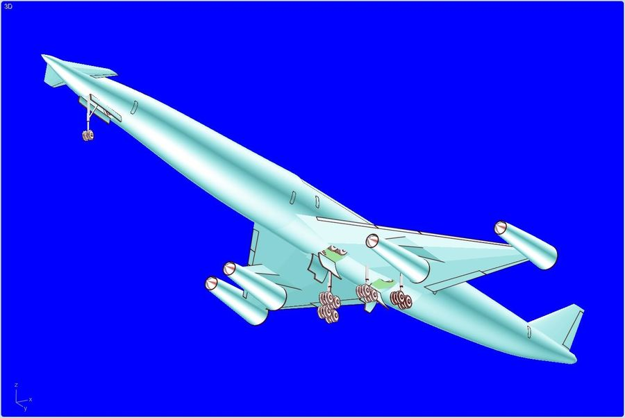 LAPCAT A2 Hypersonic Aircraft实体装配模型 royalty-free 3d model - Preview no. 1