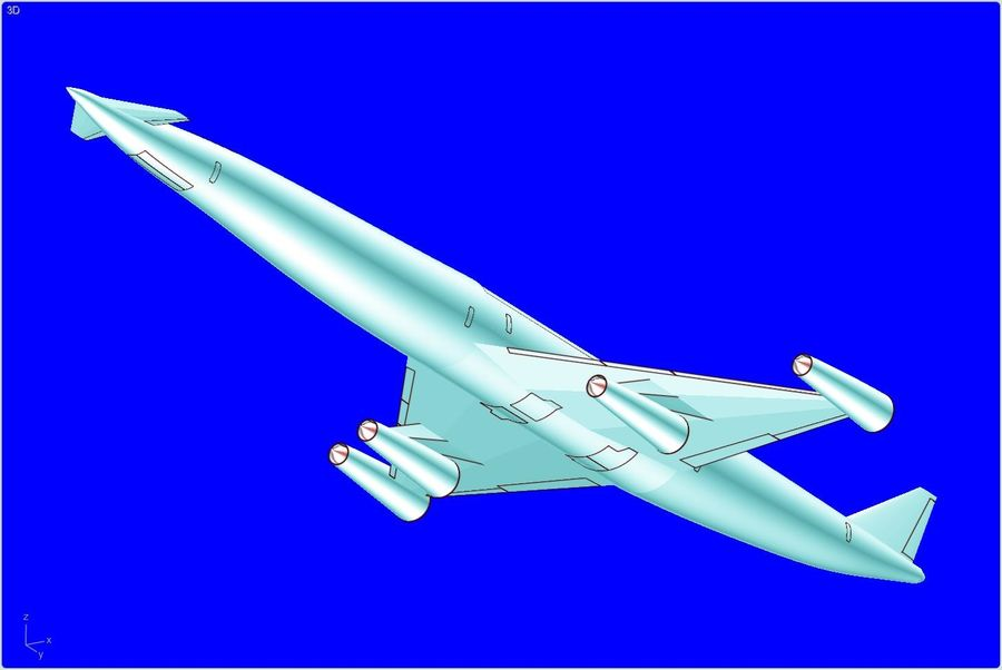 LAPCAT A2 Hypersonic Aircraft实体装配模型 royalty-free 3d model - Preview no. 3
