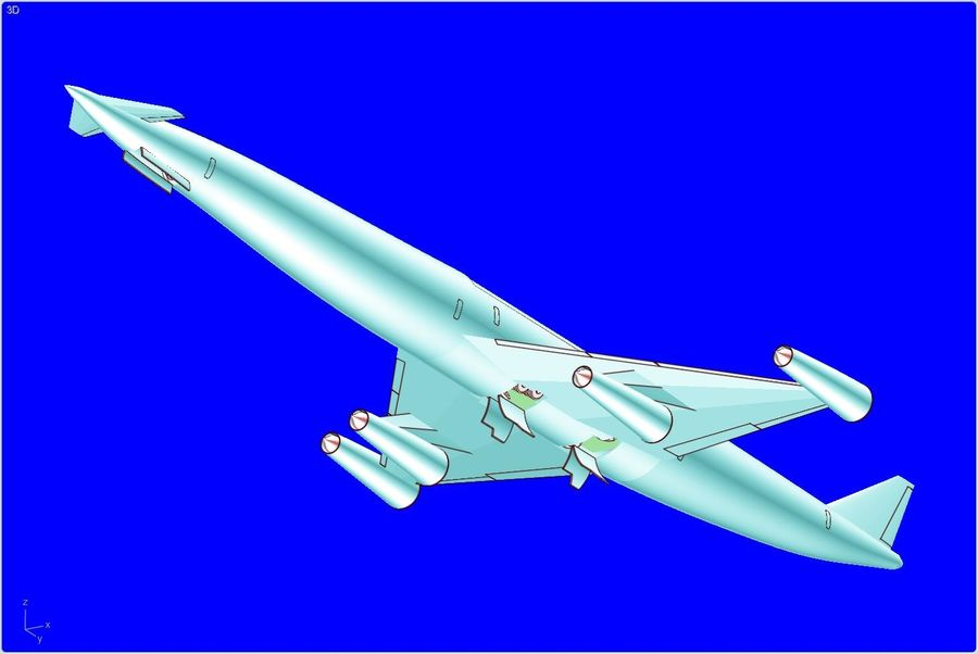 LAPCAT A2 Hypersonic Aircraft实体装配模型 royalty-free 3d model - Preview no. 2