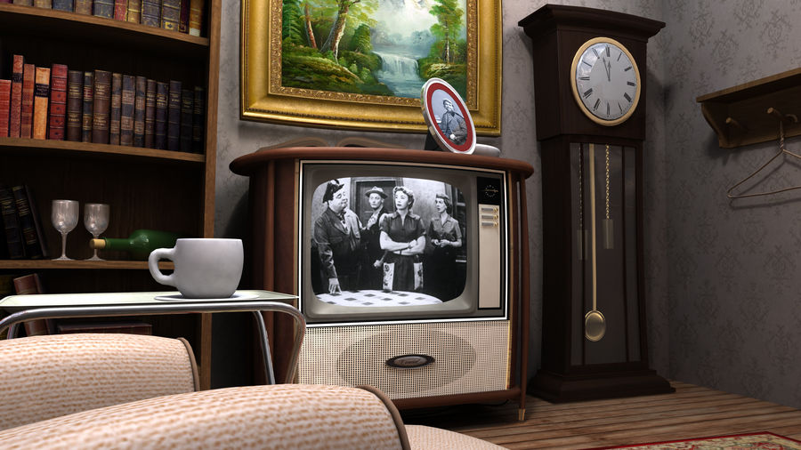 Çizgi film odası royalty-free 3d model - Preview no. 5