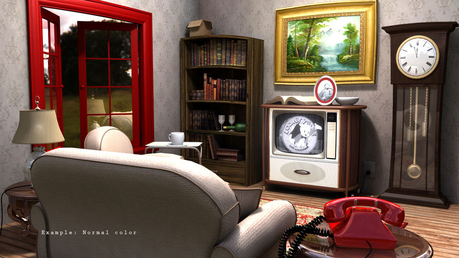 Çizgi film odası royalty-free 3d model - Preview no. 8