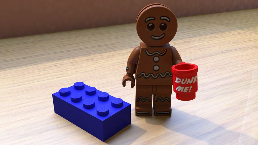 Gingerbreadman Lego Minifig HighPoly royalty-free 3d model - Preview no. 1