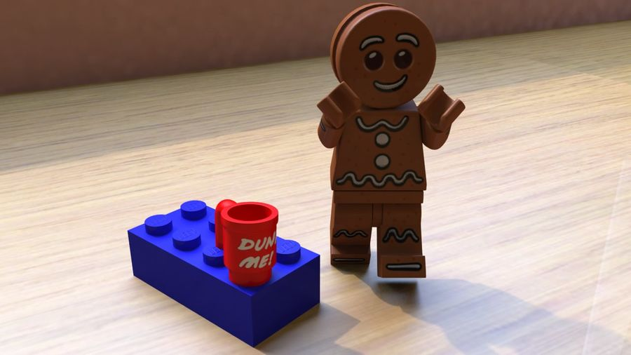 Gingerbreadman Lego Minifig HighPoly royalty-free 3d model - Preview no. 4