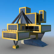Maya Cartoon background house laboratory 3d model