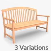 Panchina in legno per esterni 3d model