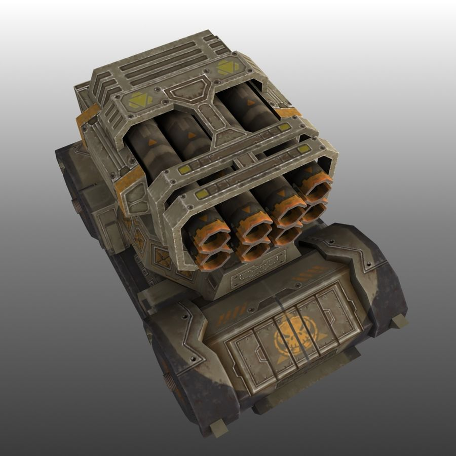 Low poly RTS Tank 01 royalty-free 3d model - Preview no. 5