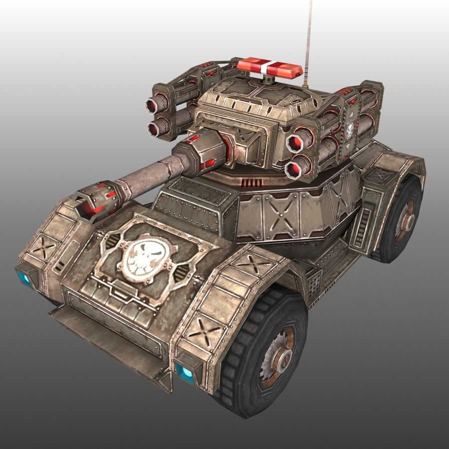 Low Poly RTS Tank 02 royalty-free 3d model - Preview no. 2