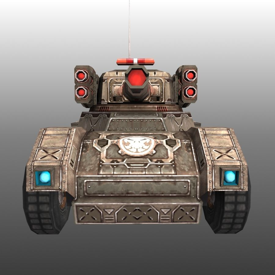 Düşük Poli RTS Tankı 02 royalty-free 3d model - Preview no. 1