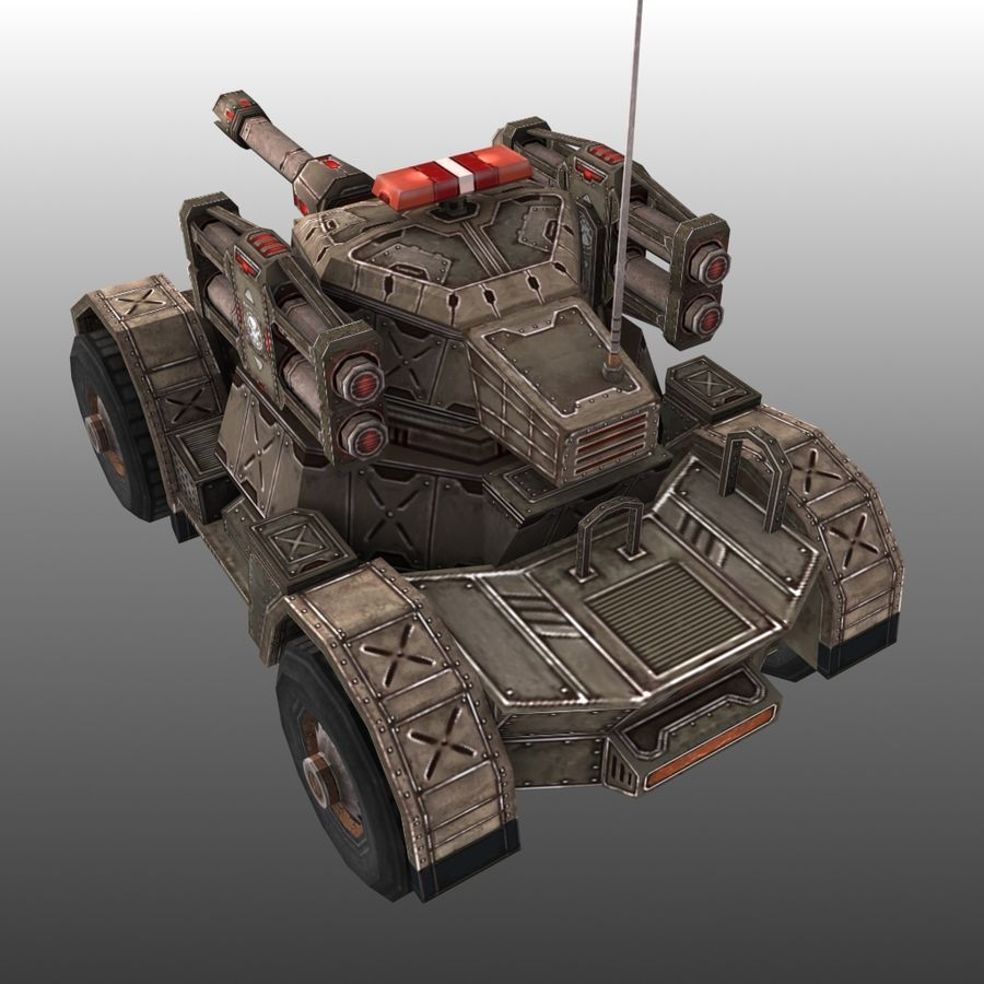 Low Poly RTS Tank 02 royalty-free 3d model - Preview no. 3