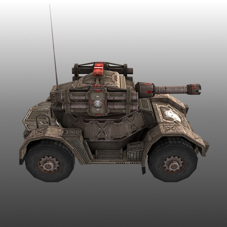 Low Poly RTS Tank 02 royalty-free 3d model - Preview no. 5