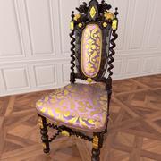 Классическая антикварная мебель Резное кресло 3d model
