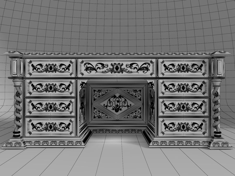 Classical antique furniture cabinet desk royalty-free 3d model - Preview no. 7