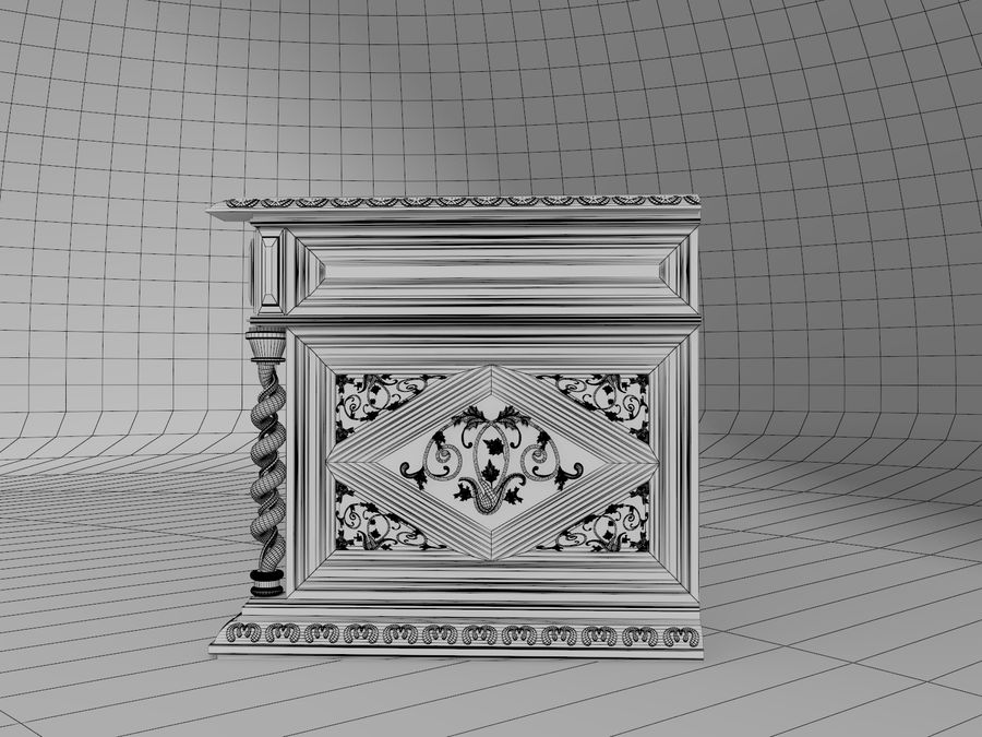 Classical antique furniture cabinet desk royalty-free 3d model - Preview no. 8