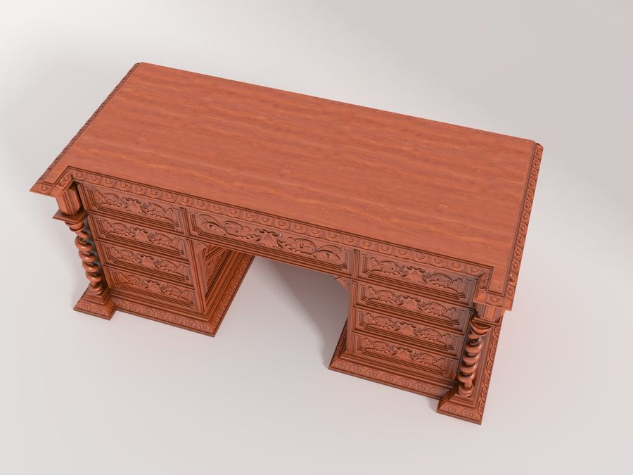 Classical antique furniture cabinet desk royalty-free 3d model - Preview no. 6