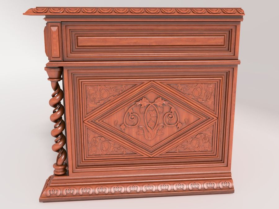Classical antique furniture cabinet desk royalty-free 3d model - Preview no. 5