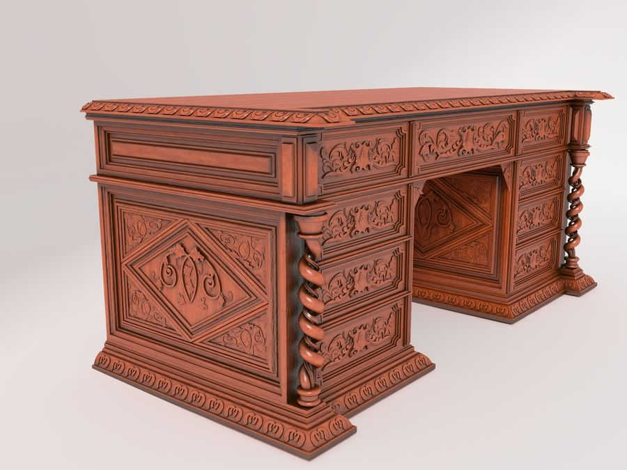 Classical antique furniture cabinet desk royalty-free 3d model - Preview no. 3