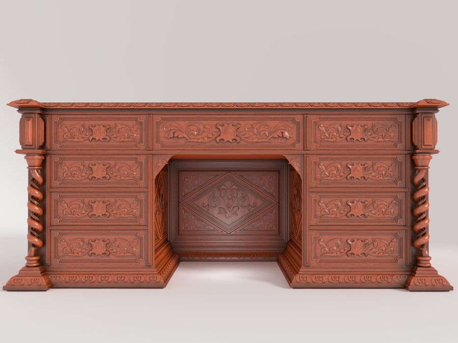 Classical antique furniture cabinet desk royalty-free 3d model - Preview no. 1