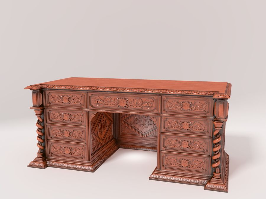 Classical antique furniture cabinet desk royalty-free 3d model - Preview no. 2