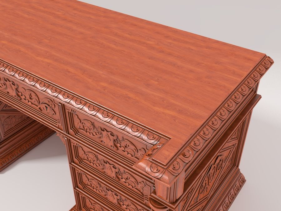 Classical antique furniture cabinet desk royalty-free 3d model - Preview no. 4