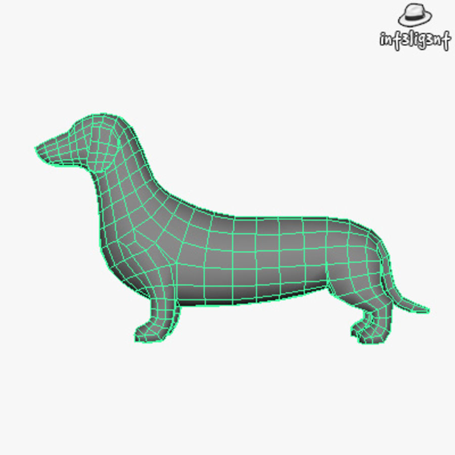 Low Poly Dachshund royalty-free 3d model - Preview no. 5