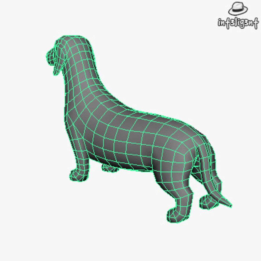 Low Poly Dachshund royalty-free 3d model - Preview no. 6