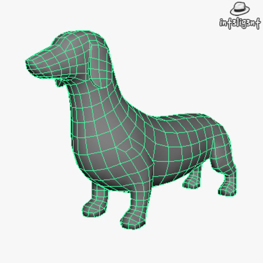 Low Poly Dachshund royalty-free 3d model - Preview no. 4