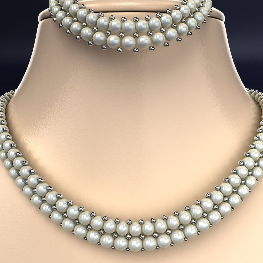 Jewelry Set royalty-free 3d model - Preview no. 3