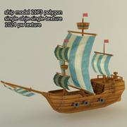 Низкополигональный корабль 3d model