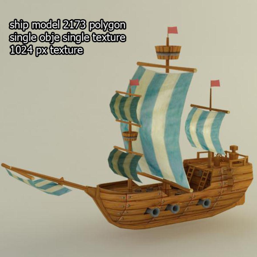 Низкополигональный корабль royalty-free 3d model - Preview no. 1