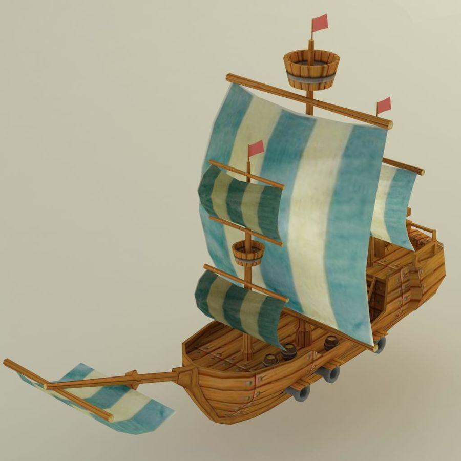 Низкополигональный корабль royalty-free 3d model - Preview no. 3