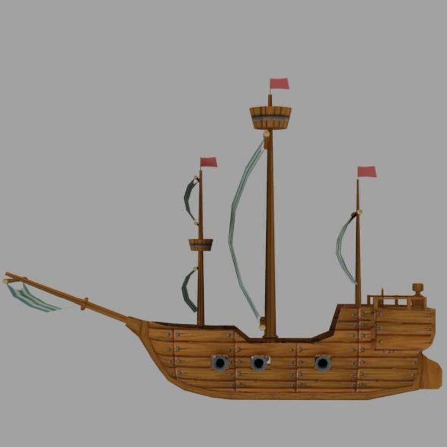 Низкополигональный корабль royalty-free 3d model - Preview no. 6