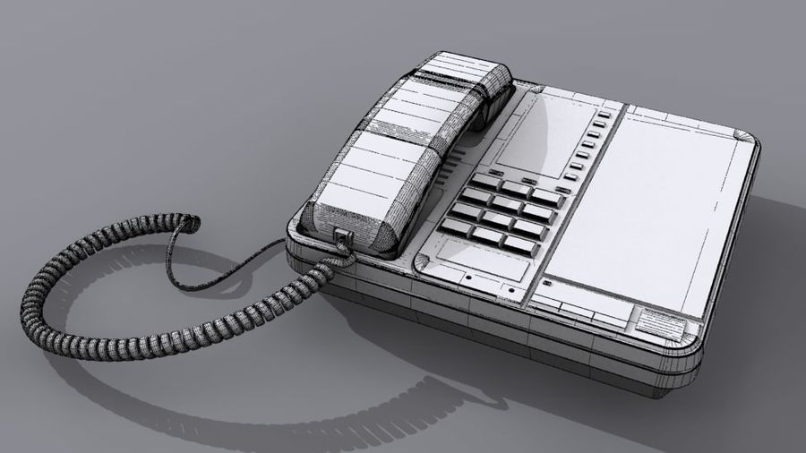 Corded Phone royalty-free 3d model - Preview no. 4