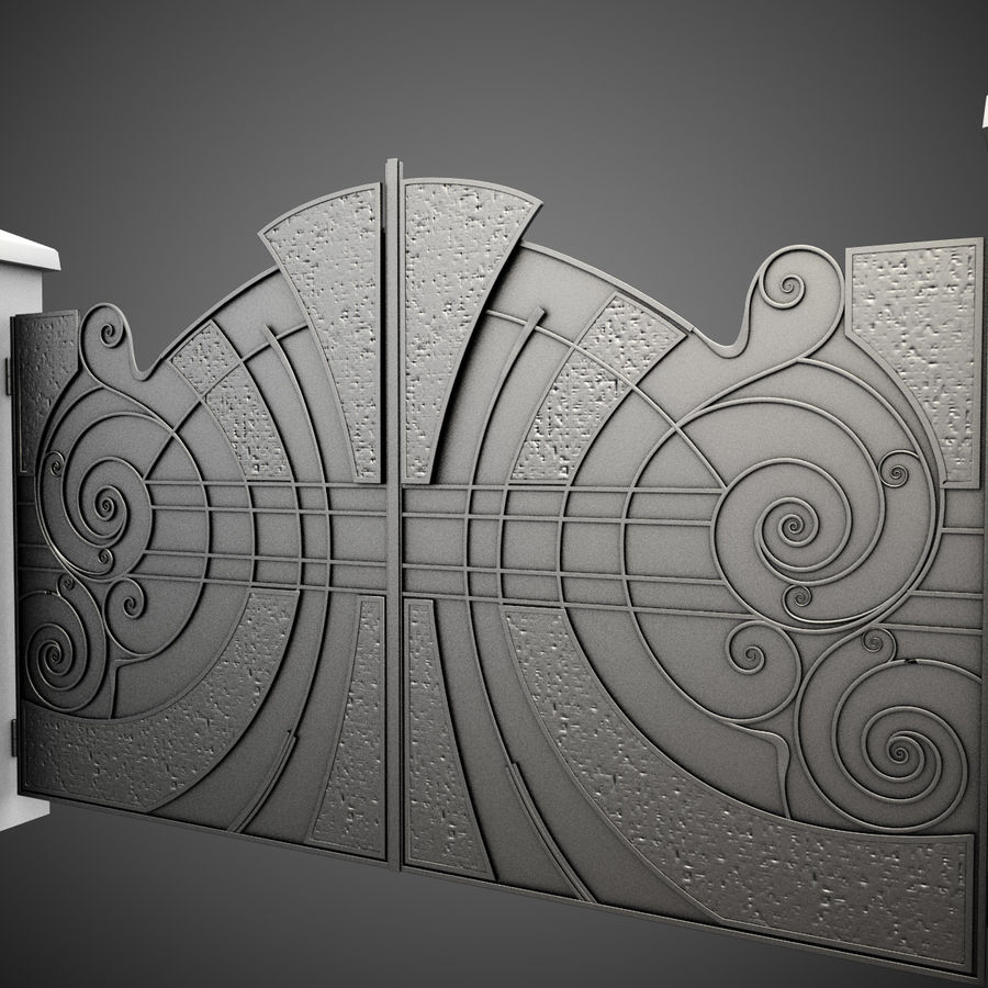 Wrought Iron Gate 25 royalty-free 3d model - Preview no. 5