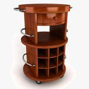 Round Butcher Block Wine Cart 3d model
