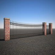 Curved Wrought Iron Fence 3d model