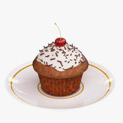 Cupcake alla ciliegia 3d model