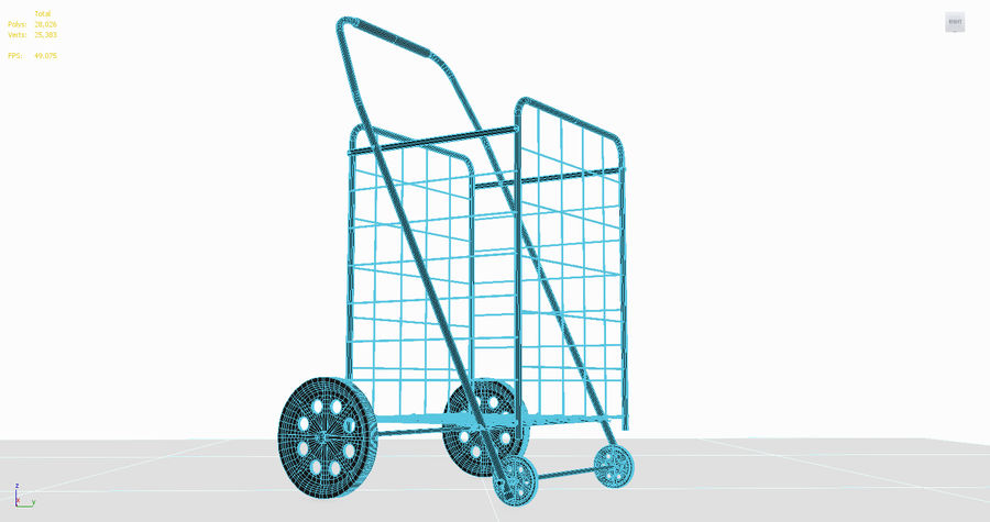 Rolling Utility Shopping Cart royalty-free 3d model - Preview no. 4