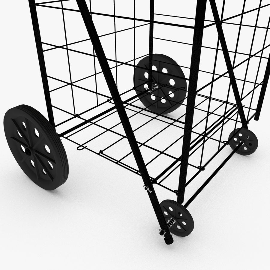 Rolling Utility Shopping Cart royalty-free 3d model - Preview no. 3