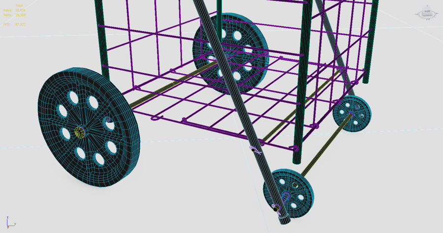 Rolling Utility Shopping Cart royalty-free 3d model - Preview no. 5