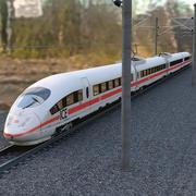 Speed Train Ice3 + Rails 3d model