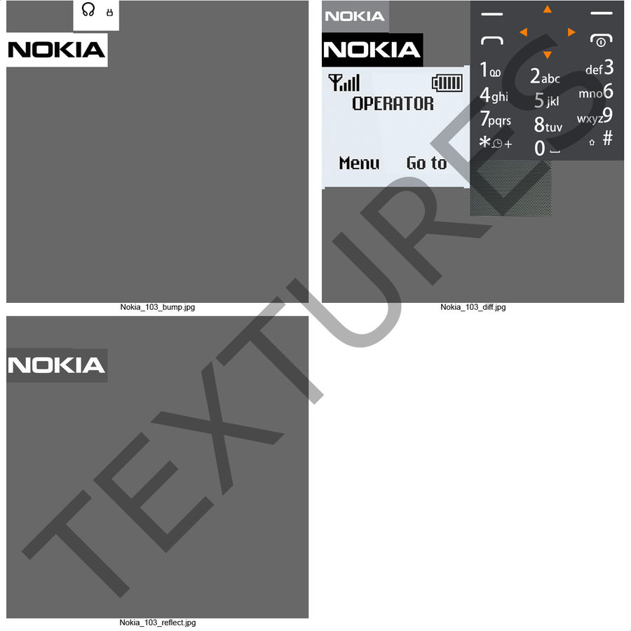 Nokia 103 royalty-free 3d model - Preview no. 2