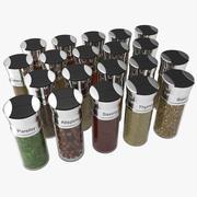 Spice Bottles Set 3d model