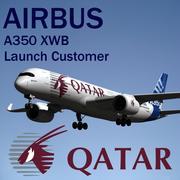 Airbus A350 XWB Qatar Airways 3d model