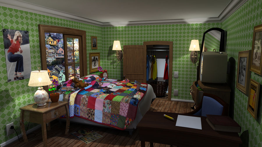cartoon slaapkamer royalty-free 3d model - Preview no. 1