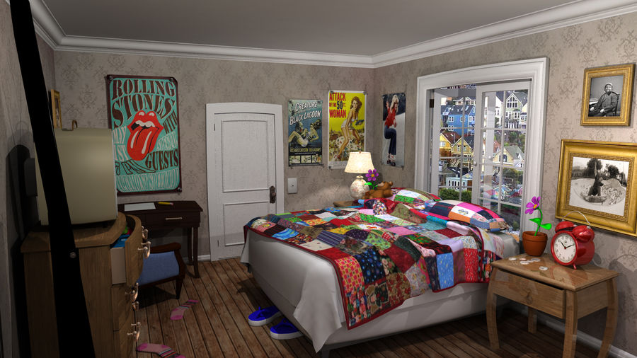 cartoon slaapkamer royalty-free 3d model - Preview no. 4