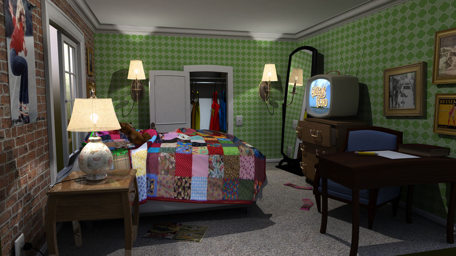 cartoon slaapkamer royalty-free 3d model - Preview no. 2