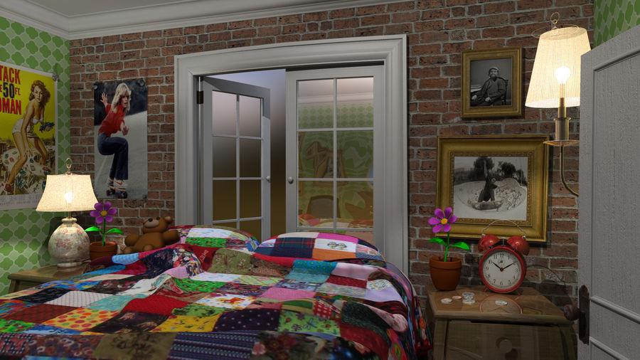 cartoon slaapkamer royalty-free 3d model - Preview no. 4